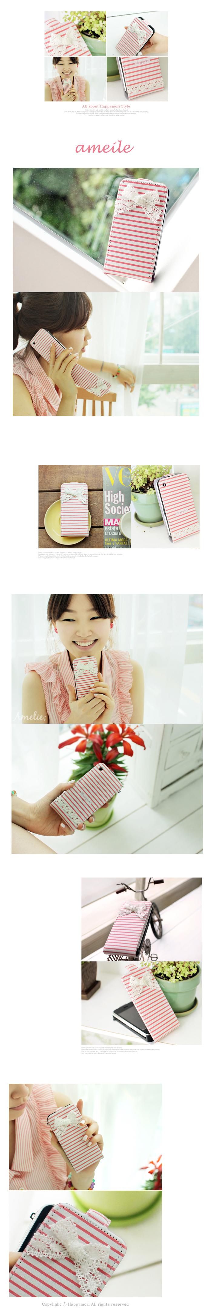 Happymori iPhone4S/4  話題の可愛いケースハッピーモリ-Amelie(フォルダータイプ)